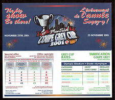 2001 GREY CUP GAME, MONTREAL 25th, 2001 ADVERTISING PAMPHLET !!