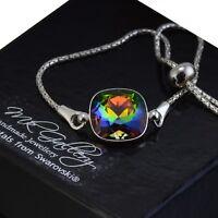 925 Silver Adjustable Bracelet 12mm Vitrail Medium Crystals from Swarovski®