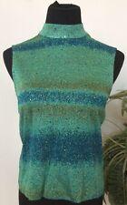 St John Women Green Wool Blend Knit Sparkle Sleeveless Turtle Neck Top Sz S EUC