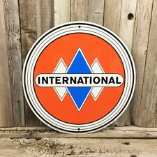 "International Harvester Ih Truck Embossed Metal Tin Round Sign 12"" Garage New"