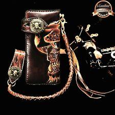 Skull Men's Biker Long Wallet Handmade Carving Genuine Leather+Chain Belt Holder