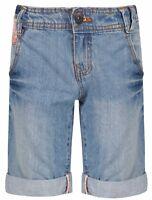 Ages 8 - 15 Girls Bermuda Jeans Floral Shorts Knee Length Mid Blue Denim
