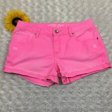 Justice Girls Simply Low Mini Jean Shorts Size 16.5 Neon Pink 100% Cotton Denim
