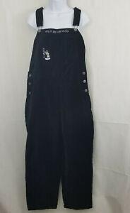 DISNEY Store Womens MEDIUM Mickey Mouse BLACK Velvet Overalls Pants VTG NWT