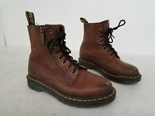 Dr. Martens Pascal Zipper Brown Leather Boots Women's Size 6