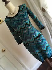 STYLISH MONSOON SIZE S 10/12 TEAL BLUE CHEVRONS WOOL BLEND KNITTED JUMPER DRESS
