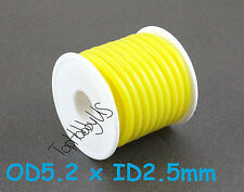 1Roll (16ft) Silicone RC Nitro Fuel Line Tubing D5.2xø2.5 Yellow  TH005-00606A-E
