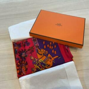 Hermes Silk Cashmere Shawl Stall 90 Pink Red Bandana Auth Japan