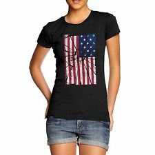 Women's Premium Cotton Distressed Stars And Stripes Distort USA Flag T-Shirt