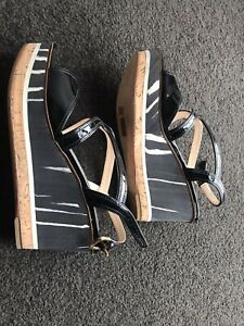 PRADA Black High Heels Platform Wedge Shoes  Leather Size 38 Made Italy