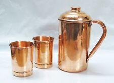 100% Copper 1 Pitcher jug & 2 Glass Tumbler Handmade Set yoga India Ayurveda