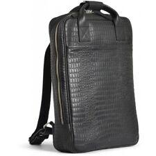Premium Leder Rucksack von still nordic im Croco Design schwarz klare Linien neu