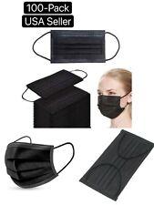 100 Pcs Black Face Mask Mouth & Nose Protector Respirator Masks Usa Seller