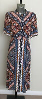 M&S Sizes 12 18 Button Front Vintage Style Patterned Midi Dress Bnwt £49.50