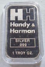 Rare Vintage H&H Handy & Harman 1 Ounce .999 Silver Bar in airtite