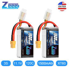 2PCS 1500mAh 120C 11.1V 3S Graphene LiPo Battery XT60 Plug for RC FPV Quad Drone