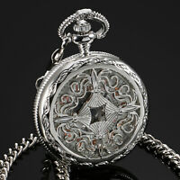 ESS Mens Pocket Watch Mechanical Silver Case Stainless Steel Hand Winding Luxury