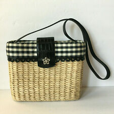 Brighton Black And White Gingham Check Straw Fabric W/ Leather Trim Shoulder Bag