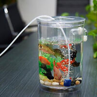 Cylindrical Mini Aquarium Fish Tank Small Ecological Desktop Decor LED   US A U
