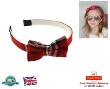 Red Tartan Fabric Bow Hair Band Headband Aliceband Girls Alice Band Tartan Red