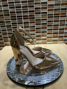 BEAUTIFUL METALLIC ROSE GOLD ASOS WIDE FIT ANKLE STRAP SHOES Sz 6