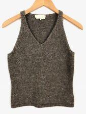'S Max Mara Womens Sz S V-Neck Sleeveless Pullover Sweater Taupe Wool Angora X59
