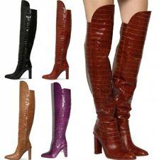 New Women's Crocodile Printed Over The Knee Boots Long Zip Up Block Heels Shoes