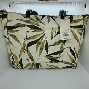 Olive Leaf Print Zip Top Tote Ladies Handbag. A New Day Green NWT!