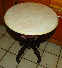 Round Mahogany Carved Marble Top Table  (T92)