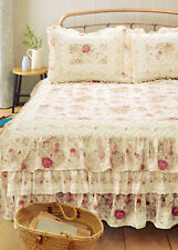 ANTIQUE ROSE RUFFLED Queen or King BEDSPREAD : COTTAGE FLORAL QUILT CREAM IVORY