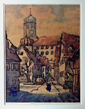 Karl Huber (1928-2009): Dillingen an der Donau - Aquarellierte Kohlezeichnung