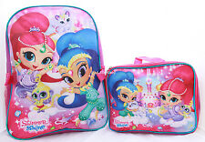 Shimmer and Shine Girls Pink School Backpack Book Bag Lunch Box SET Kids Cartoon