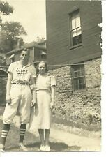 Exeter , Luzerne Co. Pa.Teen baseball player uniform girl old real photo