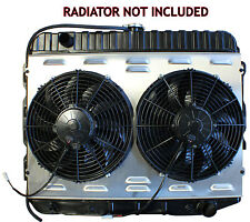 DUAL 12 SPAL FAN W ALUMINUM SHROUD FOR B & E BODY MOPAR FITS OE RADIATOR 26 CORE