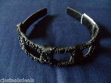 Macy's Womens Wide Squares Headband Wrapped Black Satin Beads Rhinestones $18