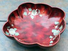 Vintage MARUMI Occupied Japan Hand Made Deep Red Lacquerware Metal Serving Bowl