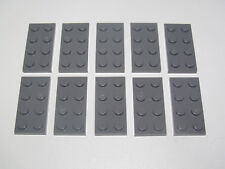 Lego ® Lot x10 Plaques Double Gris Foncé 2x4 Plate Dark Stone Grey ref 3020 NEW