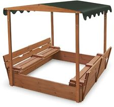 Kids Covered Sandbox Backyard Outdoor Play Sand Box Shade Cover Canopy Wooden