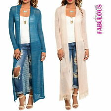 Womens Long Lace Crochet Cardigan Size 6 8 10 12 Knitted Jacket Coat XS S M L