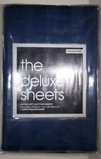 Bloomingdales Super Soft 2 King Pillowcases 500 Thread Count Sateen Stripe Navy