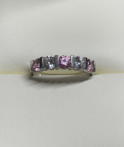 Vintage 925 Silver Pink And Clear Diamonique Band Ring Size O