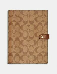 Coach Notebook in Signature Canvas with Smooth Leather Details #222 Khaki