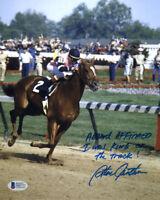 STEVE CAUTHEN SIGNED 8x10 PHOTO + HUGE INSCRIPTION AFFIRMED JOCKEY BECKETT BAS