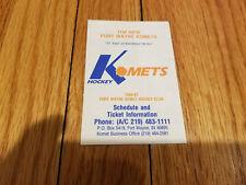 Fort Wayne Komets 1986/87 Minor Hockey Pocket Schedule - Dr. Pepper (RK)