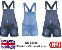 Womens Ladies & Kids Denim Dungaree Shorts Dress Girls Jumpsuit Size 8-13 New