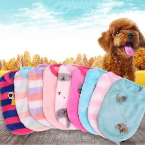 Pet Dog Clothes Puppy Sleeveless Striped Soft Velvet Sweater Cat Dog Winter Coat