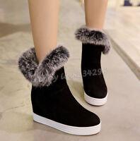 Winter Fur Ankle Stiefeletten Keilabsatz Boots Damenstiefel Kurzer Stiefel Pelz