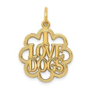 14K Yellow Gold I Love Dogs Charm