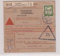 BUND, Mi. 362y, EF, NN-Paketkarte Sitzerath ü Wadern/Saar, 17.10.63