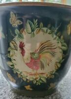 """Pair of Vintage Chinoiserie French Country Planters with Rooster Motif 9 x 11"""""""